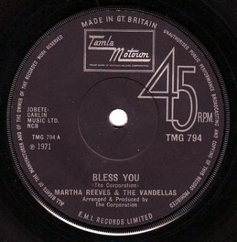 MARTHA REEVES & THE VANDELLAS - BLESS YOU - TMG 794