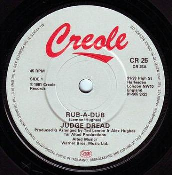JUDGE DREAD - RUB-A-DUB - CREOLE