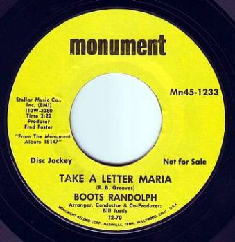 BOOTS RANDOLPH - TAKE A LETTER MARIA - MONUMENT