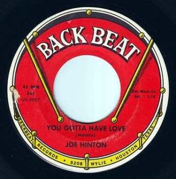 JOE HINTON - YOU GOTTA HAVE LOVE - BACK BEAT