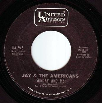 JAY & THE AMERICANS - SUNDAY AND ME - UA