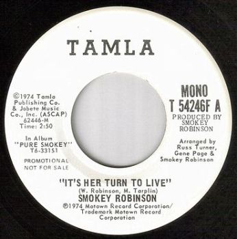 SMOKEY ROBINSON - IT'S HER TURN TO LIVE - TAMLA dj