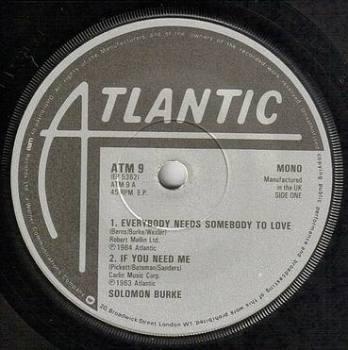 SOLOMON BURKE - EVERYBODY NEEDS SOMEBODY TO LOVE - ATLANTIC