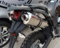 USED - Stainless MTC Tri-Oval Dual Outlet Exhaust System - XT660Z Ténéré