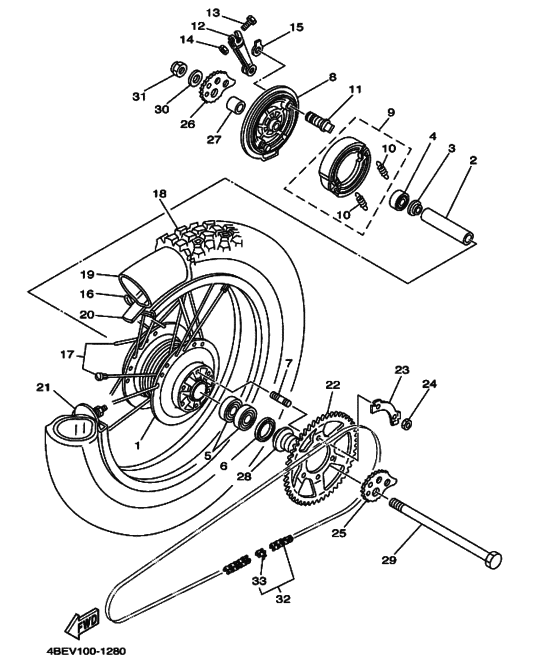Serow drum rear Wheel