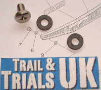 7 & 8. Exhaust Guard Screw & Washers - TY125 & TY175