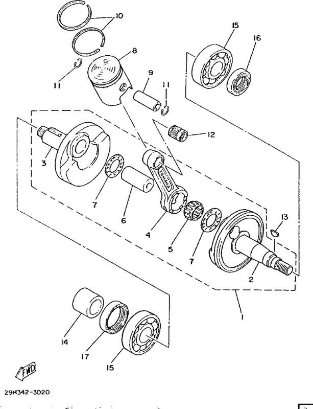 ty80 crankshaft & piston parts