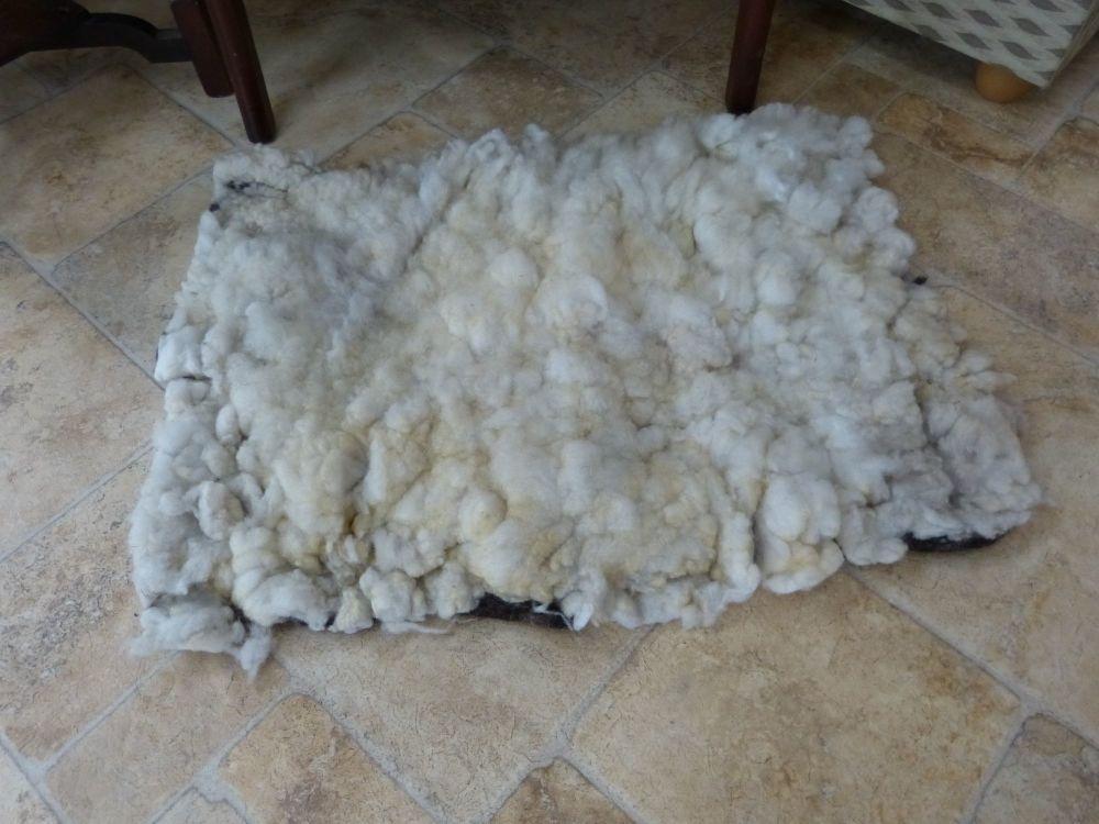 Pale silver  wet felted ryeland wool rug
