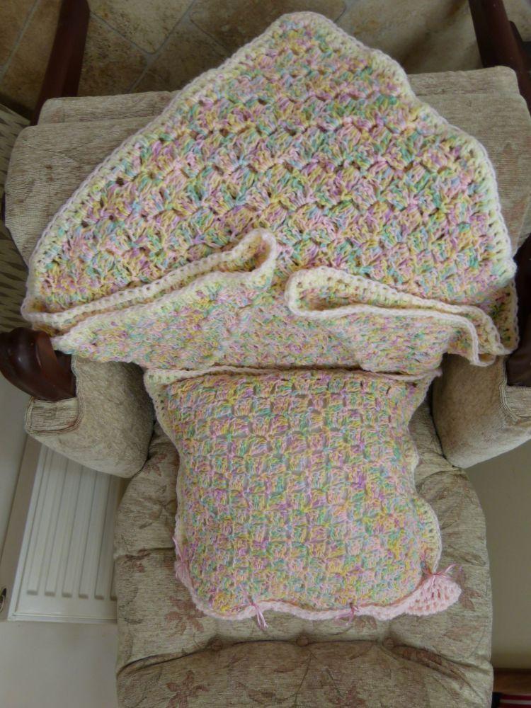 hand crochet cushion and lap blanket set