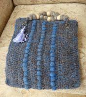 Handspun,hand crochet felted bag with cotton lining