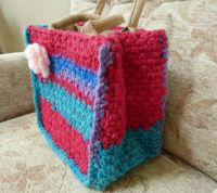 Jute bag with crochet cover
