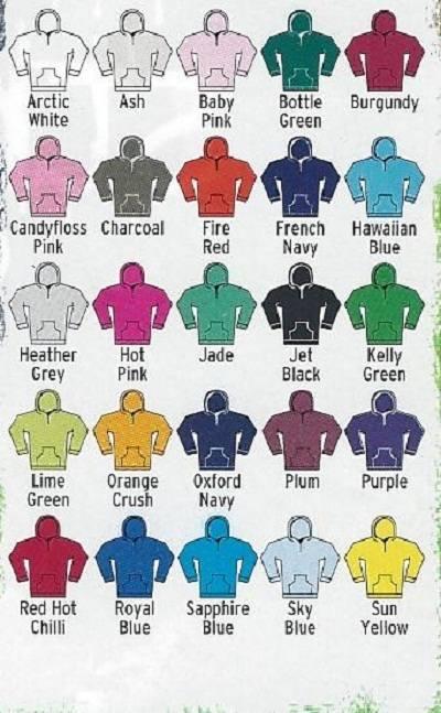 Kids hoodie colours
