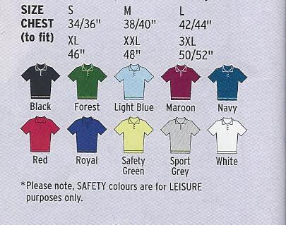 Men's polo shirt colours