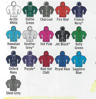 Men's Zoodie colours