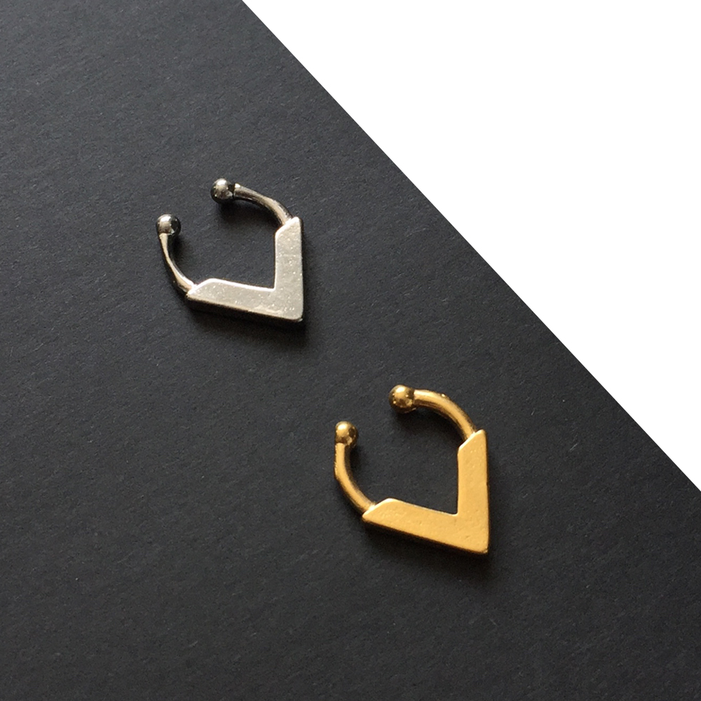 Set of 2 Gold and Silver Fake Septum Rings