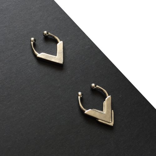 Set of 2 Silver Tribal Faux Septum Rings - Clips