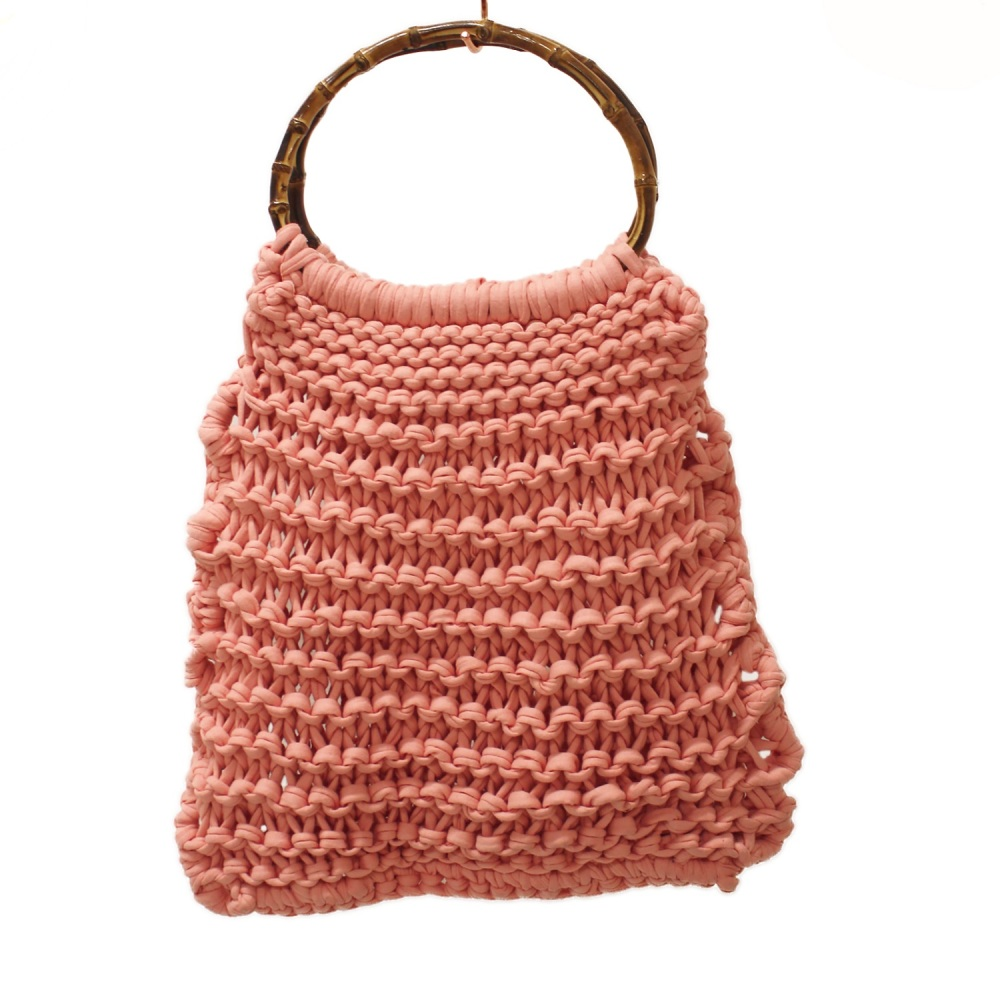 Pink Knitted Shopping Bag