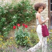 Burgundy Knitted Shopping Bag