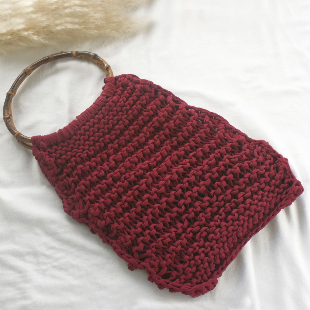 Burgundy Knitted Shopping Bag