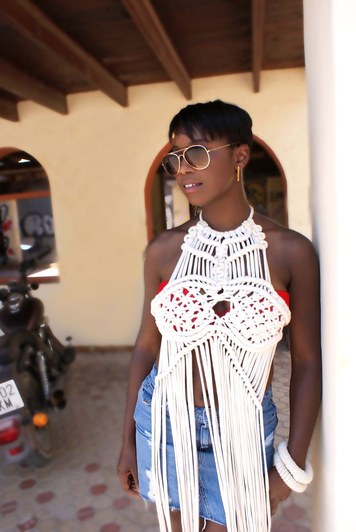Macrame dress in Ibiza by Elisha Francis