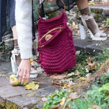 HARLOW | Maroon Knitted Market Bag