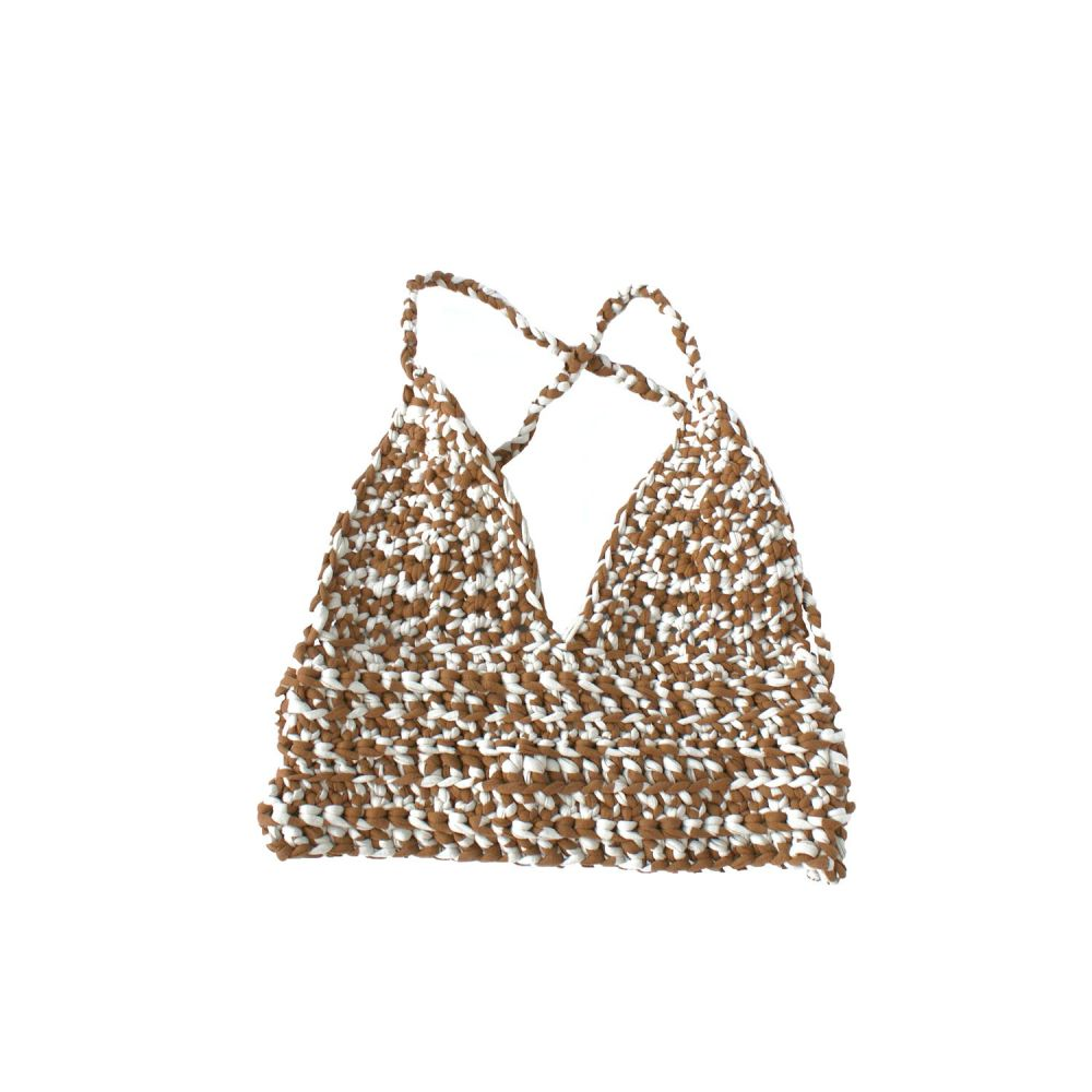 CORALINE Brown & Cream Crochet Crop Top