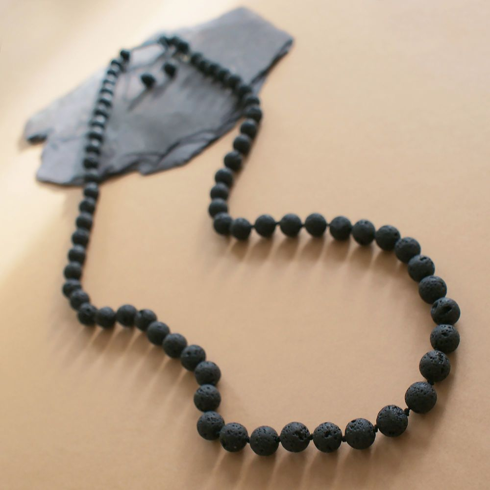 Long Lava Stone Necklace
