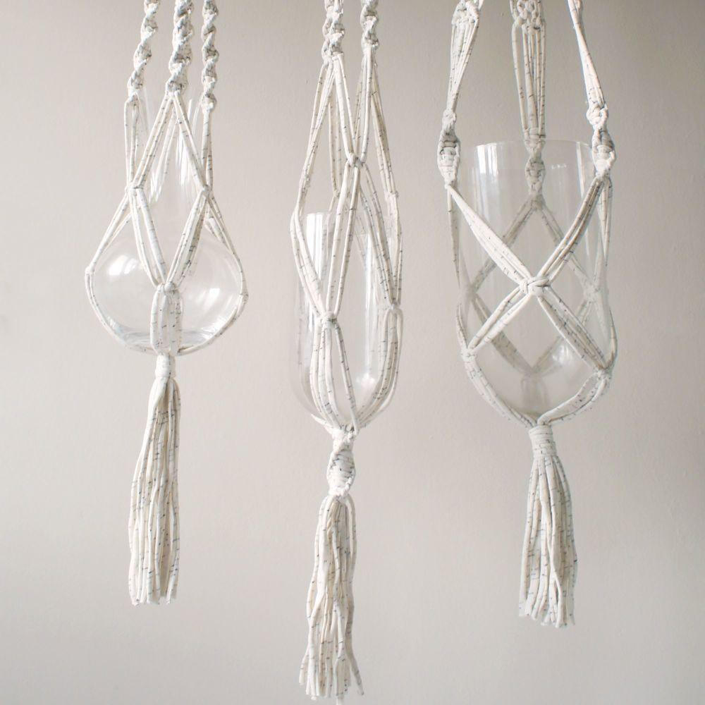 Cream Macrame Plant Hangers