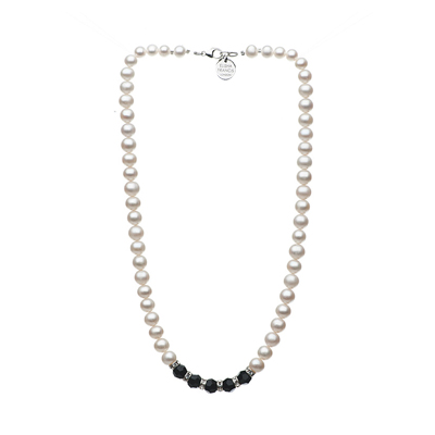 pearl necklace, freshwater pearl necklace, elisha francis, monochrome jewellery, bridal jewellery, wedding jewellery
