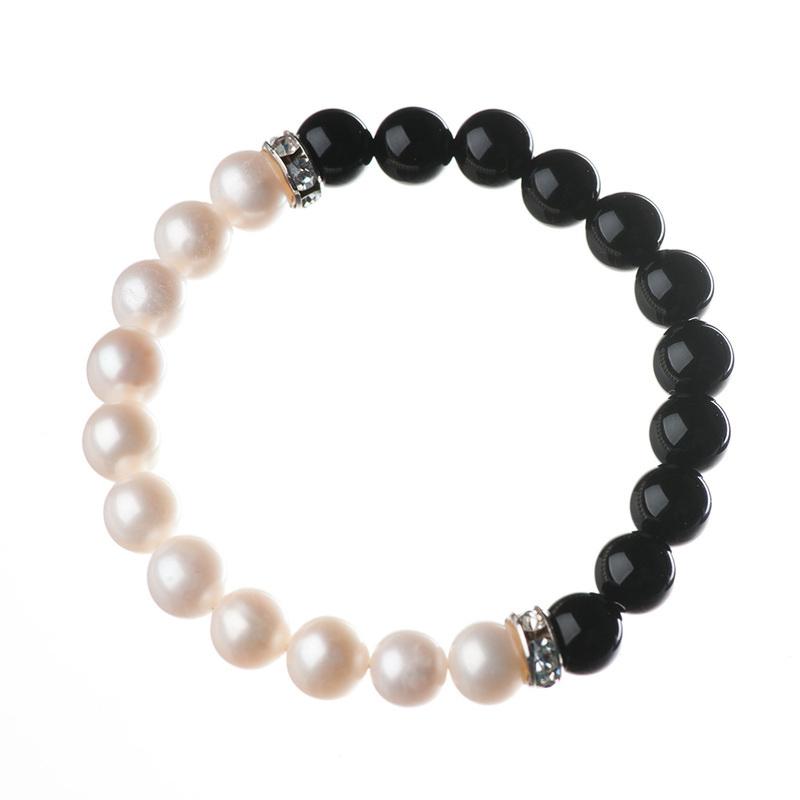 freshwater pearl bracelet, pearl bracelet, onyx bracelet, elisha francis, gemstone jewellery