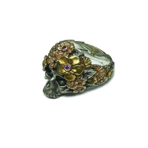 Bouquet Skull Ring (Sapphire)