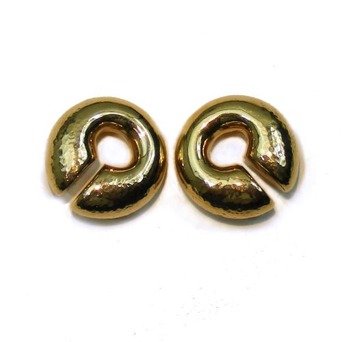 Plain tribal ear weights, bronze, ear hole 14 mm