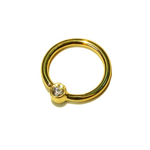 Fixed gem ring, 18 ct gold, 1.2 mm thick