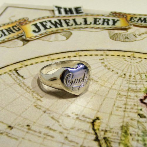 Engraved Heart Signet Ring