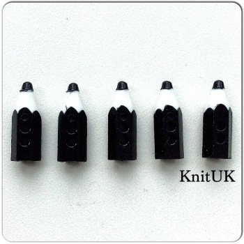 Button Black Pencil. Set of 5 (20mm)