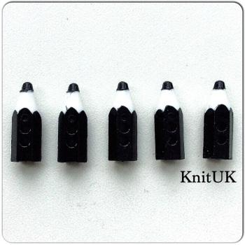 Button Black Pencil. Set of 5 (20mm)