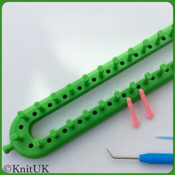 KnitUK Long Green Knitting Loom. 50 Pegs +  50 extra-pegs