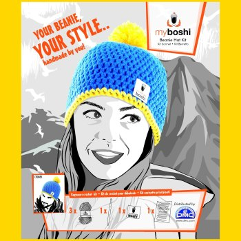 myboshi Beanie Hat Kit. Crochet: Beginner (ocean blue / yellow).