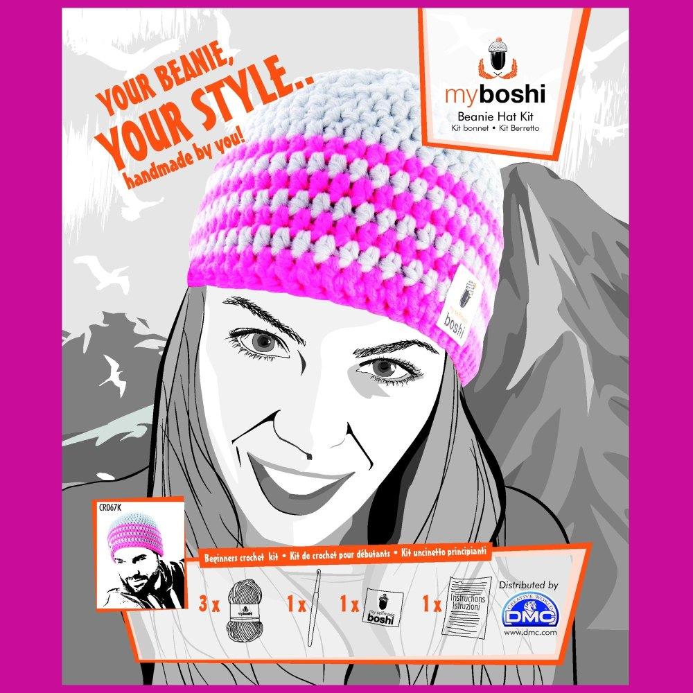 myboshi Beanie Hat Kit. Crochet: Beginner (silver / neon pink)