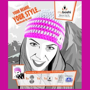 myboshi Beanie Hat Kit. Crochet: Beginner (silver / neon pink).