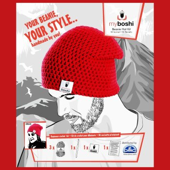 myboshi Beanie Hat Kit. Crochet: Beginner (red).