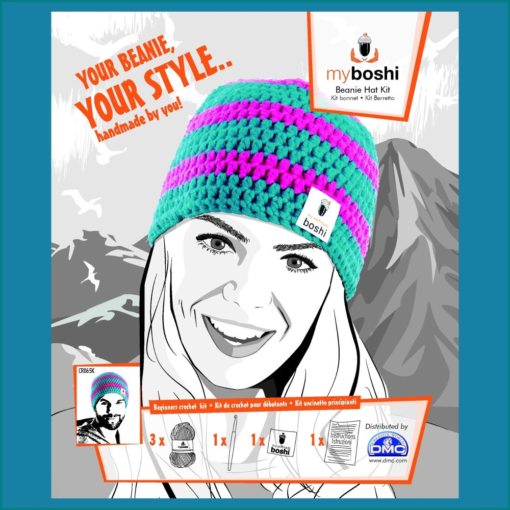 myboshi Beanie Hat Kit. Crochet: Beginner (turquoise / magenta)