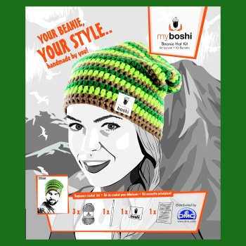 myboshi Beanie Hat Kit. Crochet: Beginner (lime / emerald / ocre).