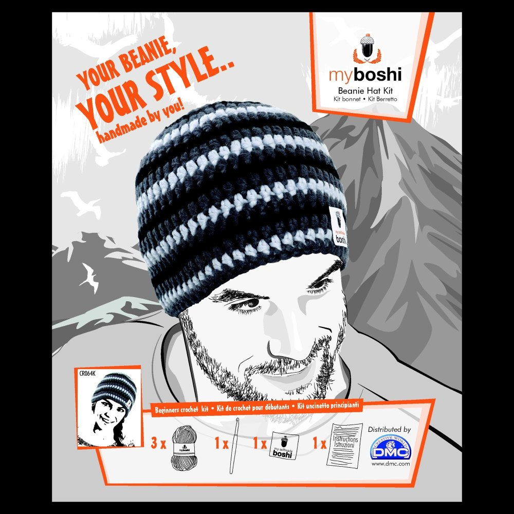 myboshi Beanie Hat Kit. Crochet: Beginner (silver / anthracite / black)