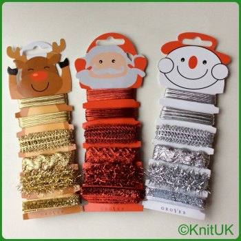 Xmas Character Ribbon & Trim Card (Groves). Snowman / Rudolph / Santa