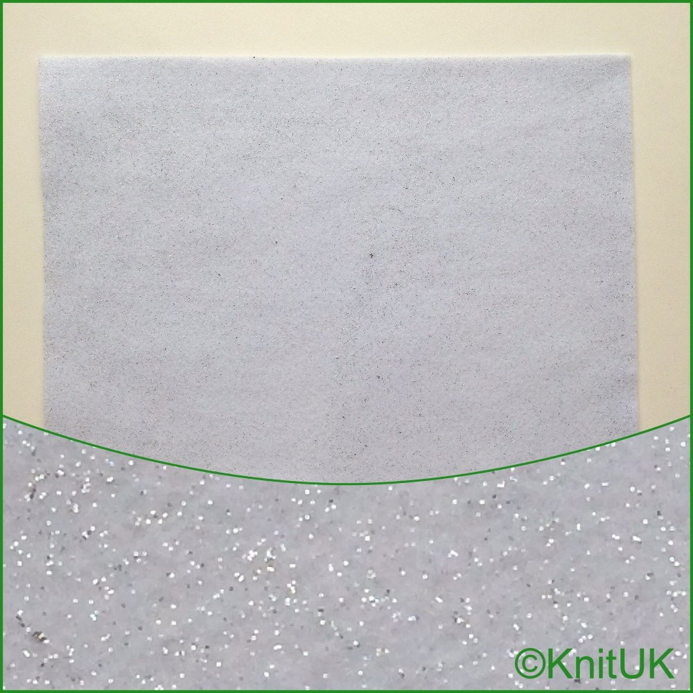 Acrylic Glitter Felt 23cm x 30cm. White (The Craft Factory). 1 Rectangle