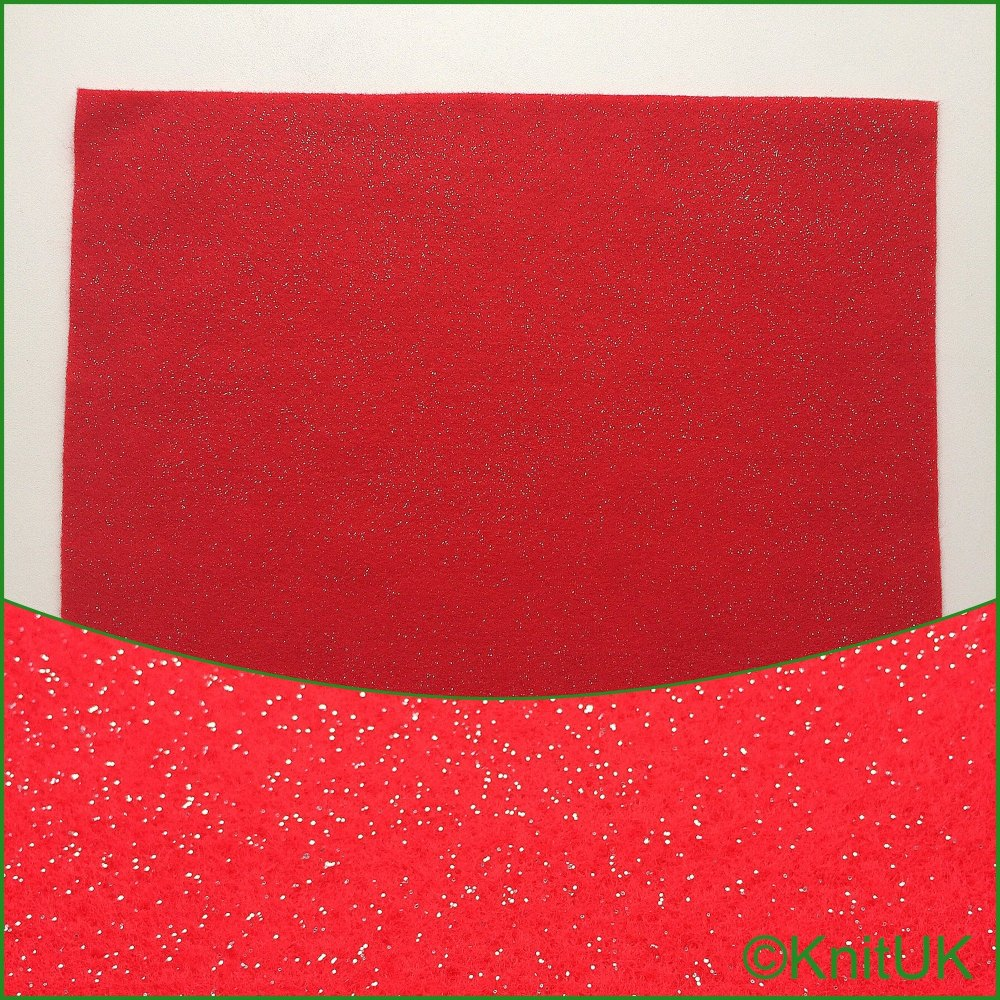 Acrylic Glitter Felt 23cm x 30cm. Red (The Craft Factory). 1 Rectangle