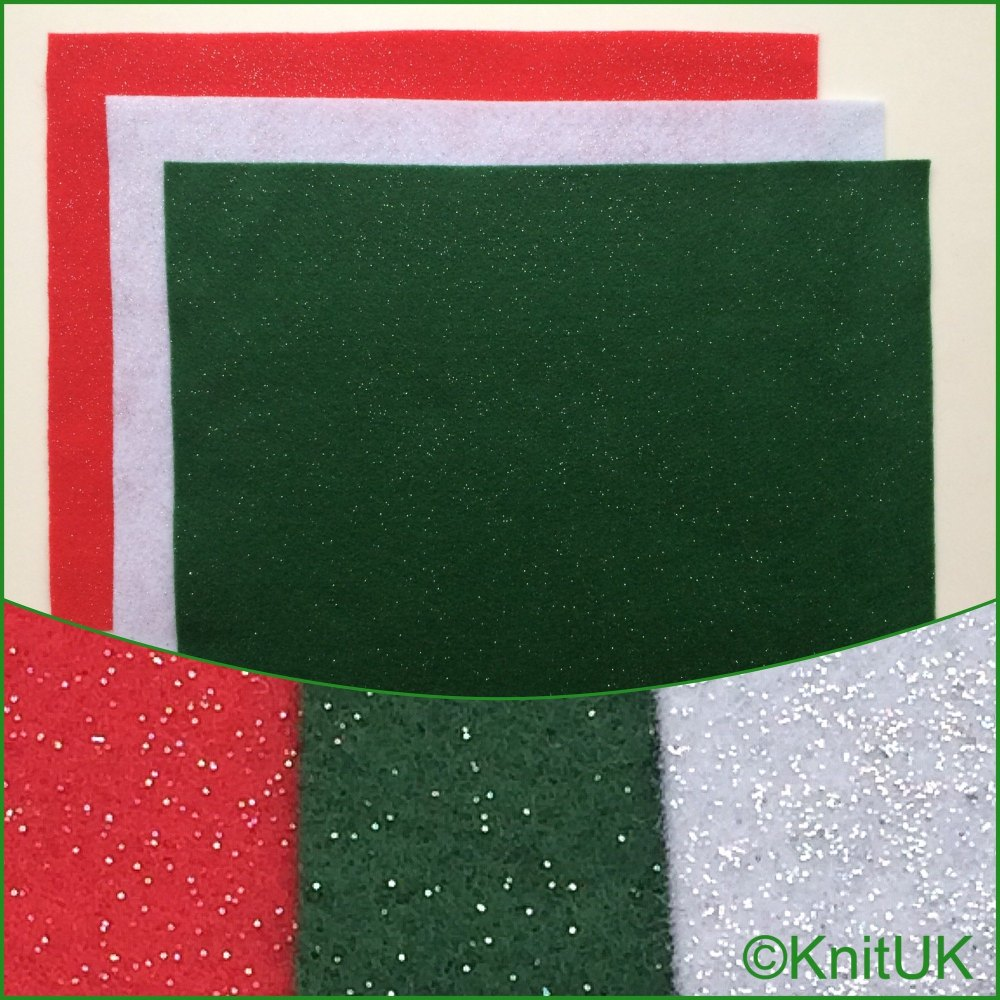 Acrylic Glitter Felt 23cm x 30cm. Xmas Colours (The Craft Factory). 3 piece