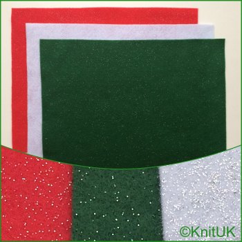Acrylic Glitter Felt 23cm x 30cm. Xmas Colours (The Craft Factory). 3 pieces