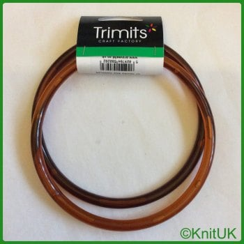 Bag Handles - Round. Trimits - pair of 13cm plastic bag handles: amber